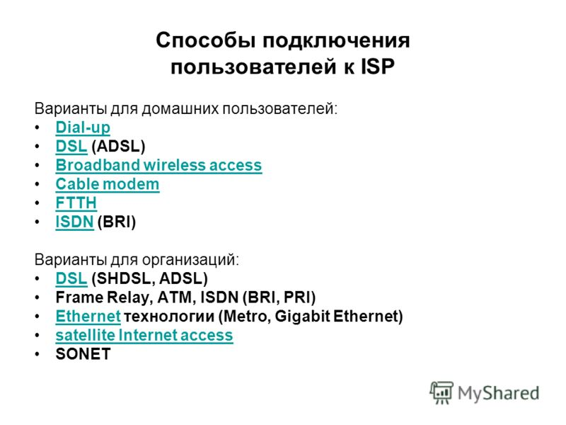 Способы подключения пользователей к ISP Варианты для домашних пользователей: Dial-up DSL (ADSL)DSL Broadband wireless access Cable modem FTTH ISDN (BRI)ISDN Варианты для организаций: DSL (SHDSL, ADSL)DSL Frame Relay, ATM, ISDN (BRI, PRI) Ethernet тех