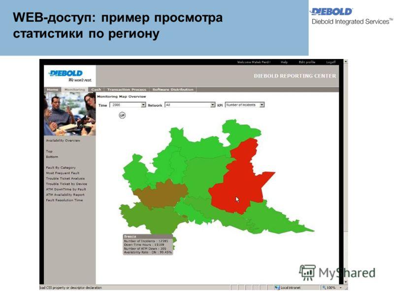 WEB-доступ: пример просмотра статистики по региону