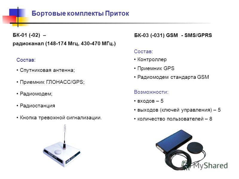 Бортовые комплекты Приток БК-03 (-031) GSM - SMS/GPRS Состав: Контроллер Приемник GPS Радиомодем стандарта GSM Возможности: входов – 5 выходов (ключей управления) – 5 количество пользователей – 8 Состав: Спутниковая антенна; Приемник ГЛОНАСС/GPS; Рад