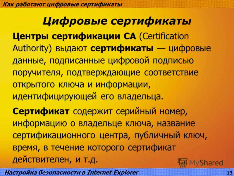 Цифровые сертификаты Как работают цифровые сертификаты Центры сертификации CA (Certification Authority) выдают сертификаты цифровые данные, подписанные цифровой подписью поручителя, подтверждающие соответствие открытого ключа и информации, идентифици