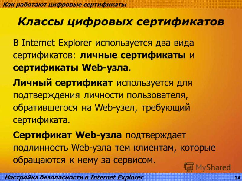 Классы цифровых сертификатов Как работают цифровые сертификаты В Internet Explorer используется два вида сертификатов: личные сертификаты и сертификаты Web-узла. Личный сертификат используется для подтверждения личности пользователя, обратившегося на
