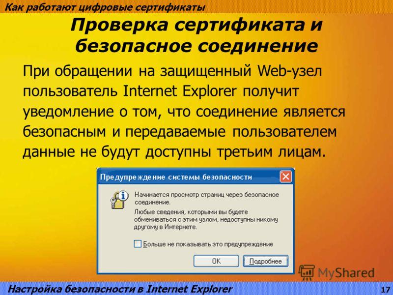 Проверка сертификата и безопасное соединение Как работают цифровые сертификаты При обращении на защищенный Web-узел пользователь Internet Explorer получит уведомление о том, что соединение является безопасным и передаваемые пользователем данные не бу