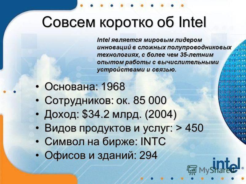 Основана: 1968Основана: 1968 Сотрудников: ок. 85 000Сотрудников: ок. 85 000 Доход: $34.2 млрд. (2004)Доход: $34.2 млрд. (2004) Видов продуктов и услуг: > 450Видов продуктов и услуг: > 450 Символ на бирже: INTCСимвол на бирже: INTC Офисов и зданий: 29