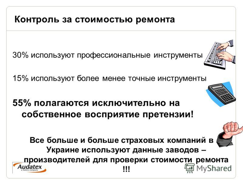 Контроль за стоимостью ремонта 30% используют профессиональные инструменты 15% используют более менее точные инструменты 55% полагаются исключительно на собственное восприятие претензии! Все больше и больше страховых компаний в Украине используют дан