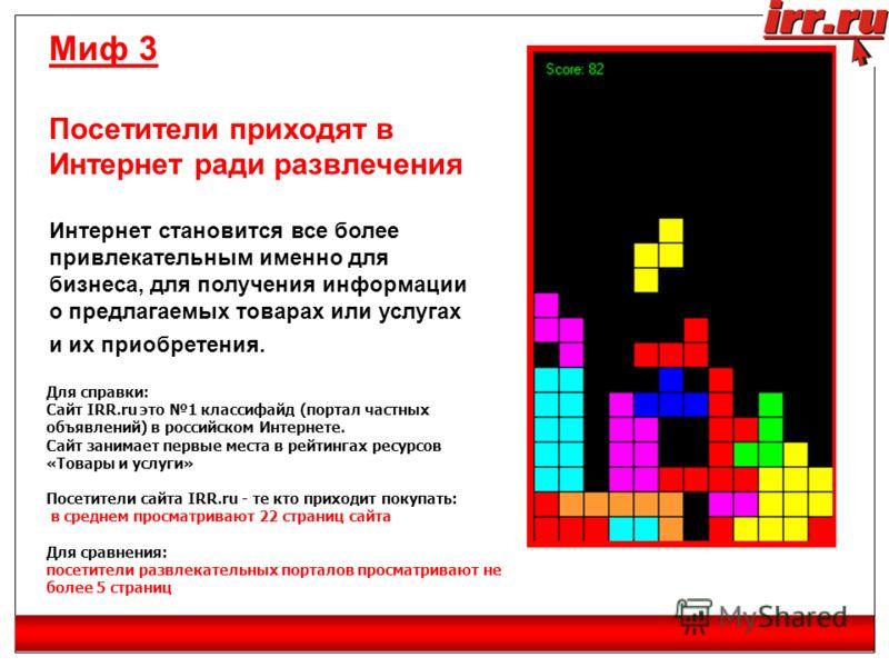 Миф 3 Посетители приходят в Интернет ради развлечения Интернет становится все более привлекательным именно для бизнеса, для получения информации о предлагаемых товарах или услугах и их приобретения. Для справки: Сайт IRR.ru это 1 классифайд (портал ч
