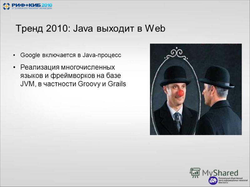 Тренд 2010: Java выходит в Web Google включается в Java-процесс Реализация многочисленных языков и фреймворков на базе JVM, в частности Groovy и Grails