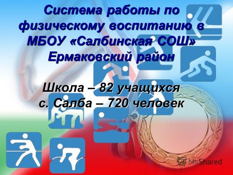 Система работы по физическому воспитанию в МБОУ «Салбинская СОШ» Ермаковский район Школа – 82 учащихся с. Салба – 720 человек