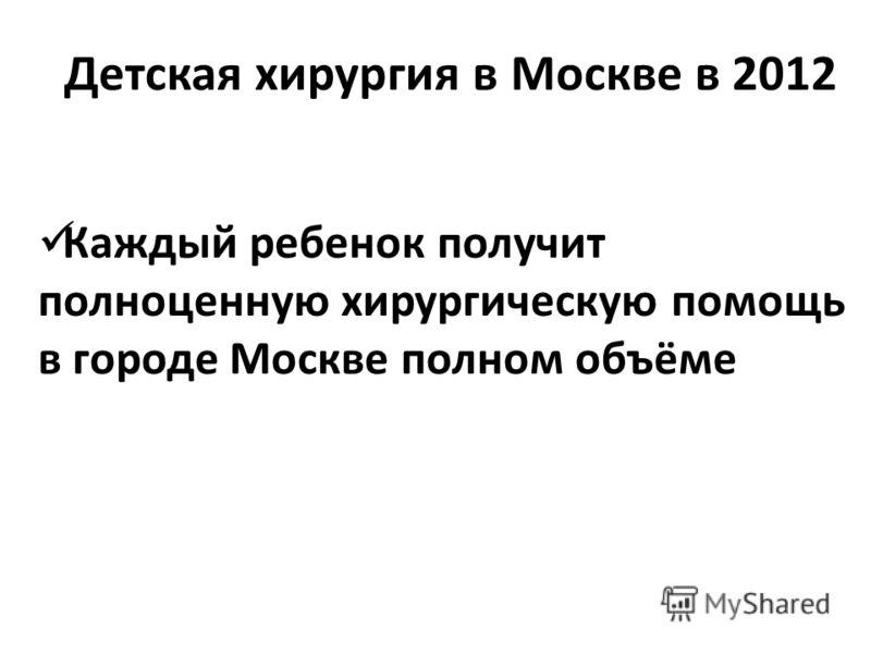 Детская хирургия в Москве в 2012 Каждый ребенок получит полноценную хирургическую помощь в городе Москве полном объёме