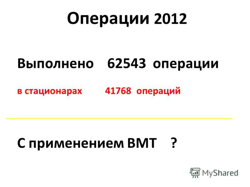 Операции 2012 Выполнено 62543 операции в стационарах 41768 операций С применением ВМТ ?