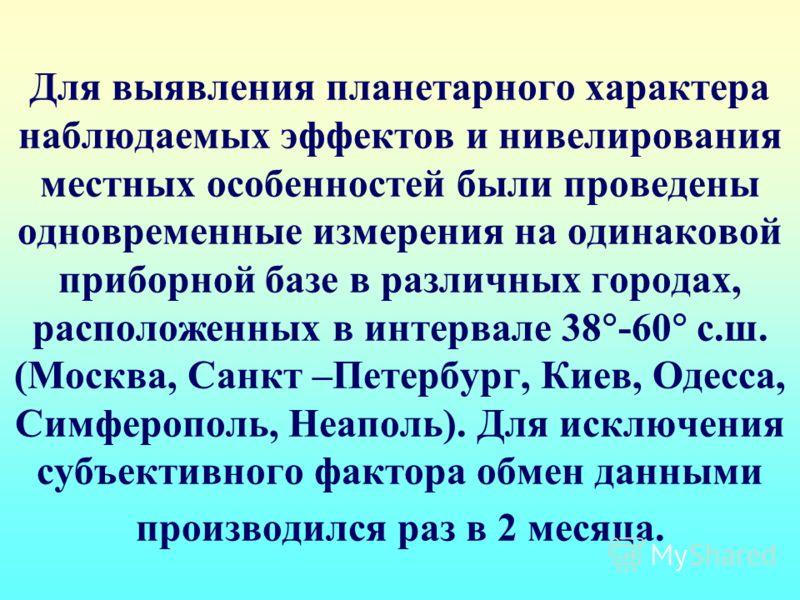 Для выявления планетарного характера наблюдаемых эффектов и нивелирования местных особенностей были проведены одновременные измерения на одинаковой приборной базе в различных городах, расположенных в интервале 38 -60 с.ш. (Москва, Санкт –Петербург, К
