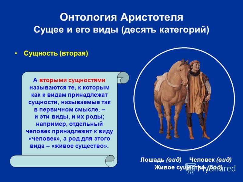 Онтология Аристотеля Сущее и его виды (десять категорий) Сущность (вторая) Живое существо (род) А вторыми сущностями называются те, к которым как к видам принадлежат сущности, называемые так в первичном смысле, – и эти виды, и их роды; например, отде