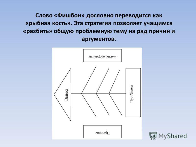 Слово «Фишбон» дословно переводится как «рыбная кость». Эта стратегия позволяет учащимся «разбить» общую проблемную тему на ряд причин и аргументов.