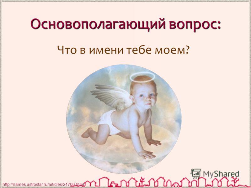Основополагающий вопрос: Что в имени тебе моем? http://names.astrostar.ru/articles/24700.html