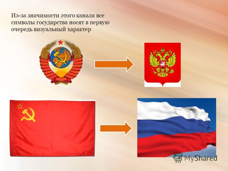 Из-за значимости этого канала все символы государства носят в первую очередь визуальный характер
