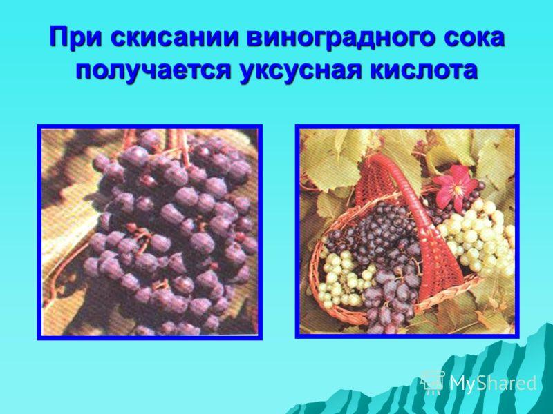 При скисании виноградного сока получается уксусная кислота