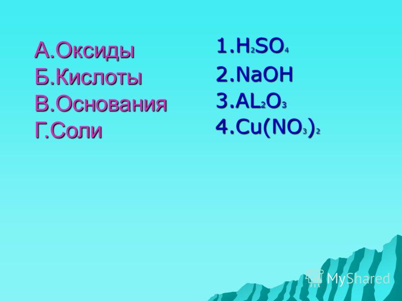 1.Н 2 SO 4 2.NaOH 3.AL 2 O 3 4.Cu(NO 3 ) 2 А.ОксидыБ.КислотыВ.ОснованияГ.Соли