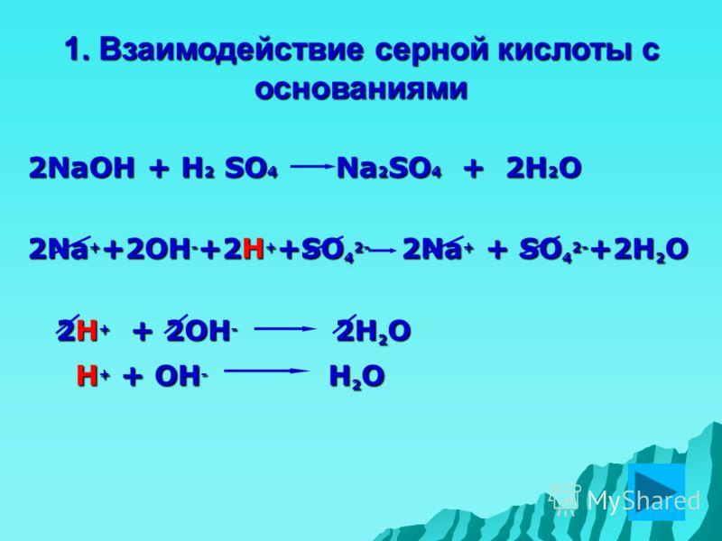 1. Взаимодействие серной кислоты с основаниями 2NaOH + H 2 SO 4 Na 2 SO 4 + 2H 2 O 2Na + +2OH - +2H + +SO 4 2- 2Na + + SO 4 2- +2H 2 O 2H + + 2OH - 2H 2 O 2H + + 2OH - 2H 2 O H + + OH - H 2 O H + + OH - H 2 O