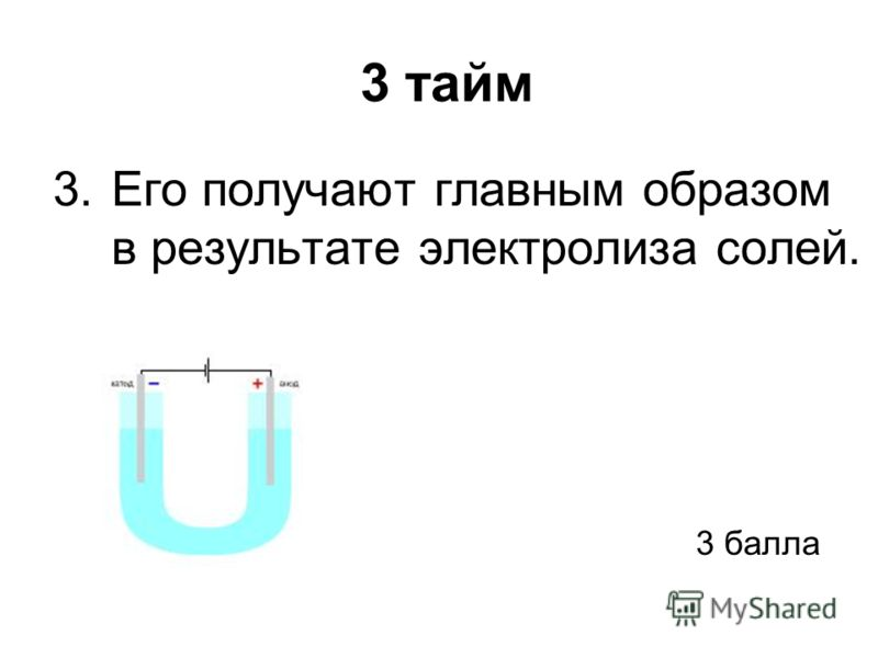 3 тайм 3.Его получают главным образом в результате электролиза солей. 3 балла