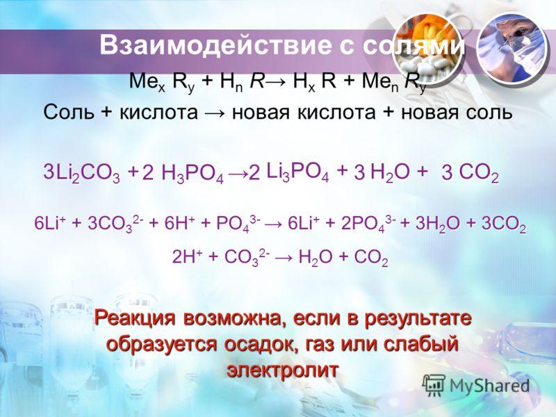 Взаимодействие с солями Ме x R y + H n R H х R + Ме n R y Соль + кислота новая кислота + новая соль Li 2 CO 3 + H 3 PO 4 H 3 PO 4 Li 3 PO 4 + H 2 O + CO 2 3 2233 6Li + + 3CO 3 2- + 6H + + PO 4 3- 6Li + + 2PO 4 3- + 3H 2 O + 3CO 2 2H + + CO 3 2- H 2 O