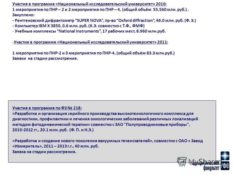 Участие в программе «Национальный исследовательский университет» 2010: 1 мероприятие по ПНР – 2 и 2 мероприятия по ПНР – 4, (общий объём 55.560 млн. руб.). Закуплено: - Рентгеновский дифрактометр SUPER NOVA, пр-во Oxford diffraction, 46.0 млн. руб. (