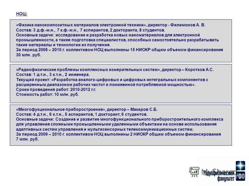 НОЦ: «Физика нанокомпозитных материалов электронной техники», директор - Филимонов А. В. Состав: 3 д.ф.-м.н., 7 к.ф.-м.н., 7 аспирантов, 2 докторанта, 8 студентов. Основные задачи: исследование и разработка новых наноматериалов для электронной промыш