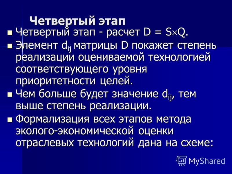 Четвертый этап Четвертый этап - расчет D = S Q. Четвертый этап - расчет D = S Q. Элемент d ij матрицы D покажет степень реализации оцениваемой технологией соответствующего уровня приоритетности целей. Элемент d ij матрицы D покажет степень реализации