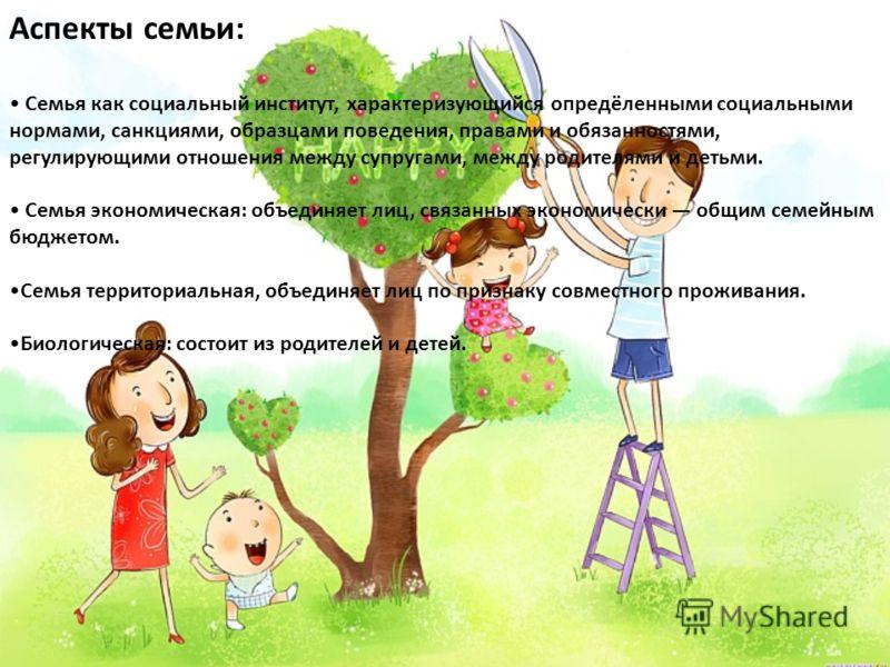 Аспекты семьи: Семья как социальный институт, характеризующийся опредёленными социальными нормами, санкциями, образцами поведения, правами и обязанностями, регулирующими отношения между супругами, между родителями и детьми. Семья экономическая: объед