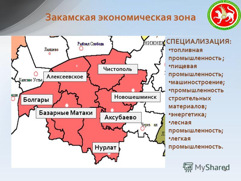 Закамская экономическая зона СПЕЦИАЛИЗАЦИЯ: топливная промышленность ; пищевая промышленность; машиностроение; промышленность строительных материалов; энергетика; лесная промышленность; легкая промышленность. Альметьевск Бугульма Лениногорск Черемшан