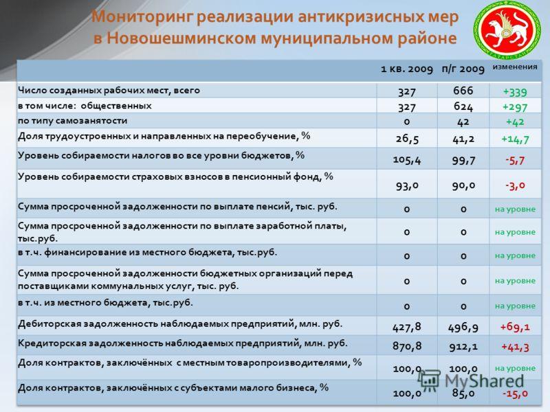 Мониторинг реализации антикризисных мер в Новошешминском муниципальном районе