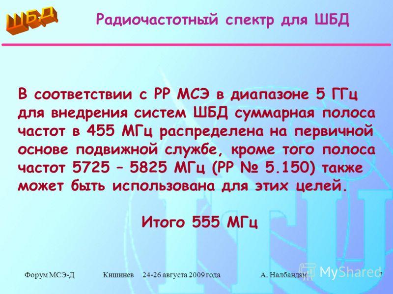 Форум МСЭ-Д Кишинев 24-26 августа 2009 годаА. Налбандян7 В соответствии с РР МСЭ в диапазоне 5 ГГц для внедрения систем ШБД суммарная полоса частот в 455 МГц распределена на первичной основе подвижной службе, кроме того полоса частот 5725 – 5825 МГц