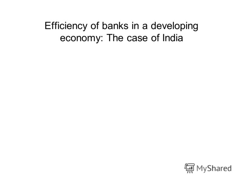 Efficiency of banks in a developing economy: The case of India