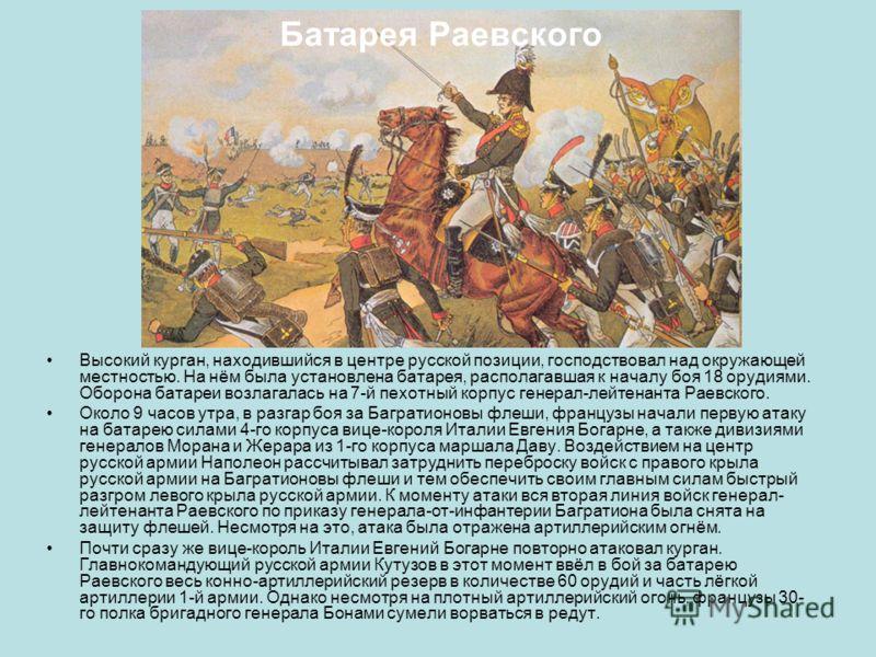 Высокий курган, находившийся в центре русской позиции, господствовал над окружающей местностью. На нём была установлена батарея, располагавшая к началу боя 18 орудиями. Оборона батареи возлагалась на 7-й пехотный корпус генерал-лейтенанта Раевского.
