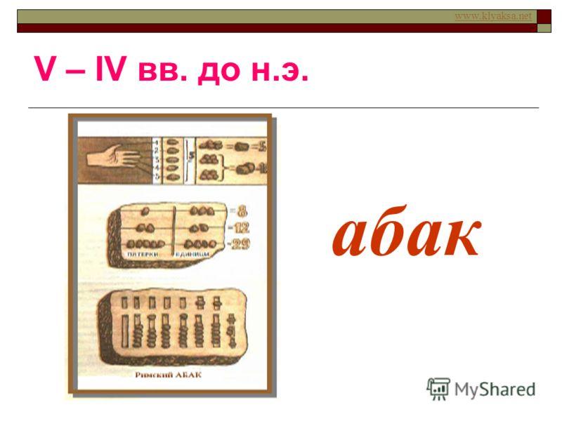 www.klyaksa.net абак V – IV вв. до н.э.