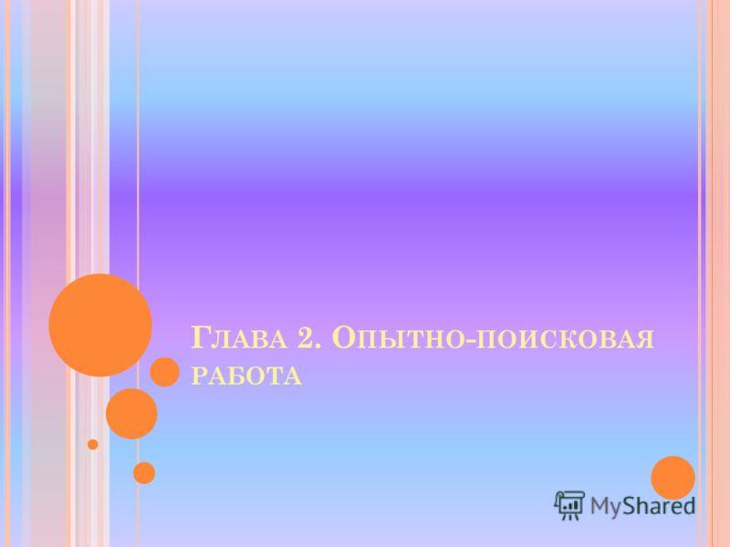 Г ЛАВА 2. О ПЫТНО - ПОИСКОВАЯ РАБОТА