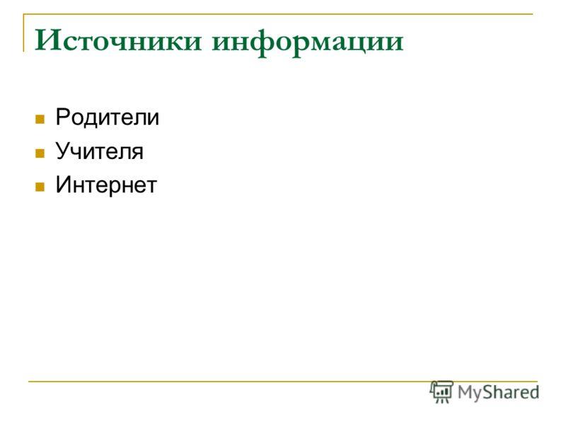 Источники информации Родители Учителя Интернет