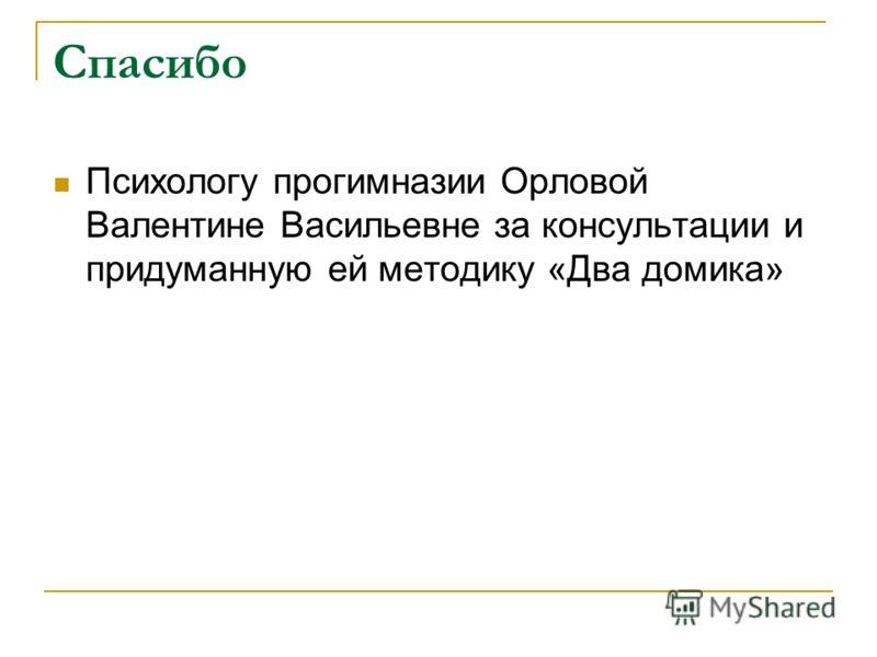 Спасибо Психологу прогимназии Орловой Валентине Васильевне за консультации и придуманную ей методику «Два домика»