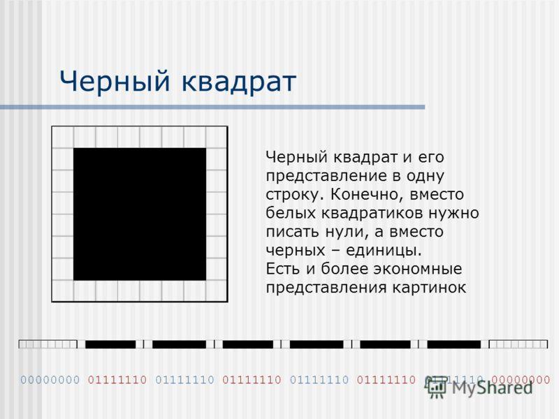 Черный квадрат Черный квадрат и его представление в одну строку. Конечно, вместо белых квадратиков нужно писать нули, а вместо черных – единицы. Есть и более экономные представления картинок 00000000 01111110 01111110 01111110 01111110 01111110 01111