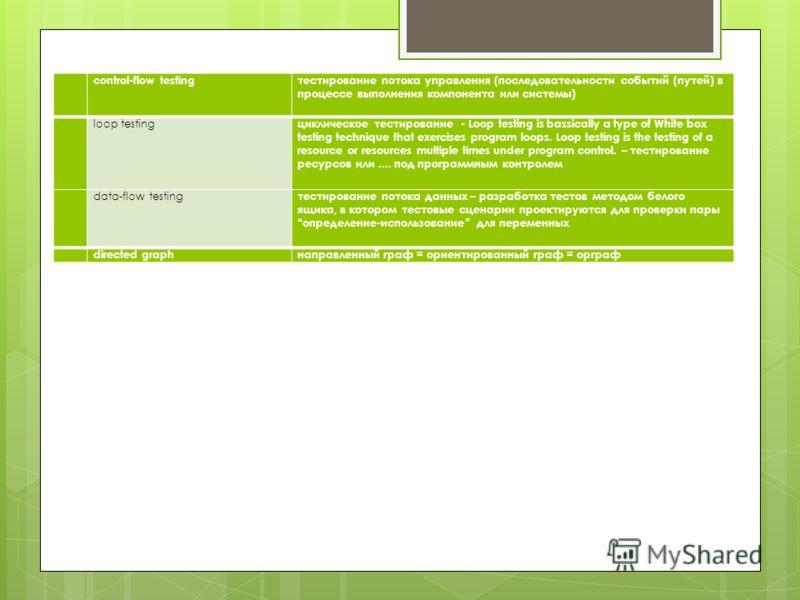 сontrol-flow testingтестирование потока управления (последовательности событий (путей) в процессе выполнения компонента или системы) loop testing циклическое тестирование - Loop testing is bassically a type of White box testing technique that exercis