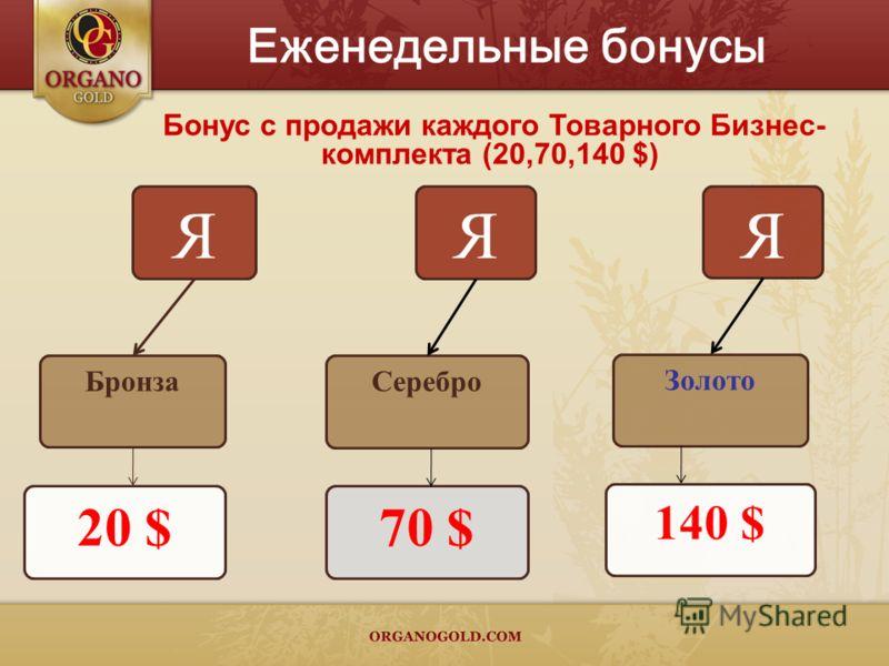 Бонус с продажи каждого Товарного Бизнес- комплекта (20,70,140 $) Я Серебро 70 $ Я Золото 140 $ Еженедельные бонусы Я Бронза 20 $