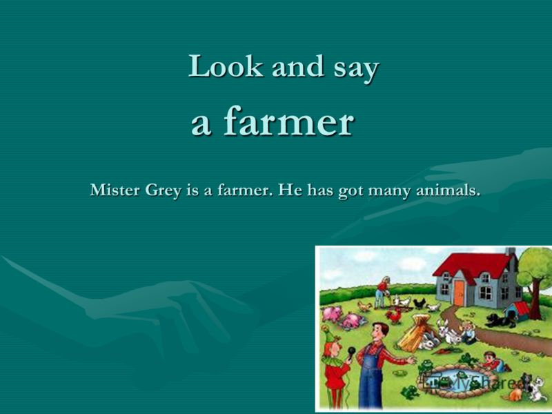 Mister Grey is a farmer. He has got many animals. a farmer a farmer Look and say