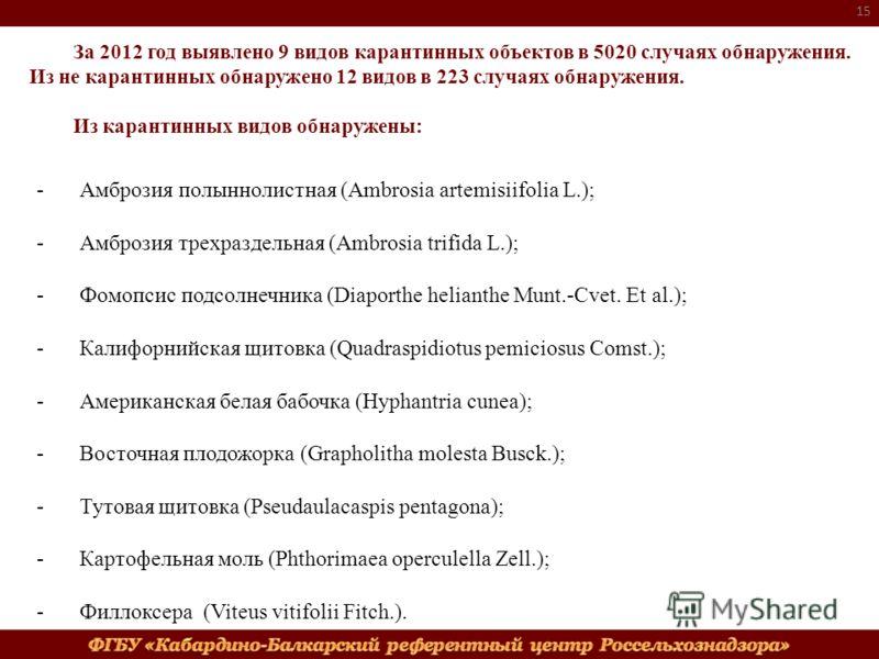За 2012 год выявлено 9 видов карантинных объектов в 5020 случаях обнаружения. Из не карантинных обнаружено 12 видов в 223 случаях обнаружения. Из карантинных видов обнаружены: 15 -Амброзия полыннолистная (Ambrosia artemisiifolia L.); -Амброзия трехра