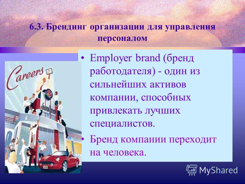 6.3. Брендинг организации для управления персоналом Employer brand (бренд работодателя) - один из сильнейших активов компании, способных привлекать лучших специалистов. Бренд компании переходит на человека.