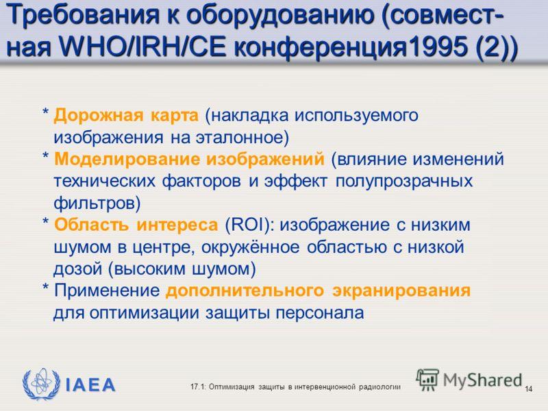 IAEA 17.1: Оптимизация защиты в интервенционной радиологии 14 * Дорожная карта (накладка используемого изображения на эталонное) * Моделирование изображений (влияние изменений технических факторов и эффект полупрозрачных фильтров) * Область интереса