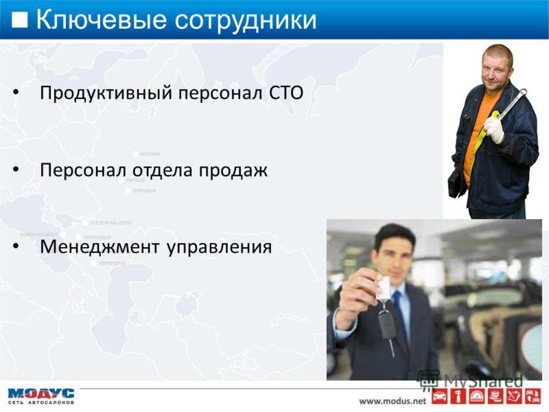 Продуктивный персонал СТО Персонал отдела продаж Менеджмент управления Ключевые сотрудники