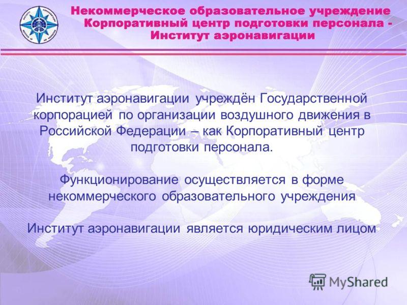 Институт аэронавигации учреждён Государственной корпорацией по организации воздушного движения в Российской Федерации – как Корпоративный центр подготовки персонала. Функционирование осуществляется в форме некоммерческого образовательного учреждения