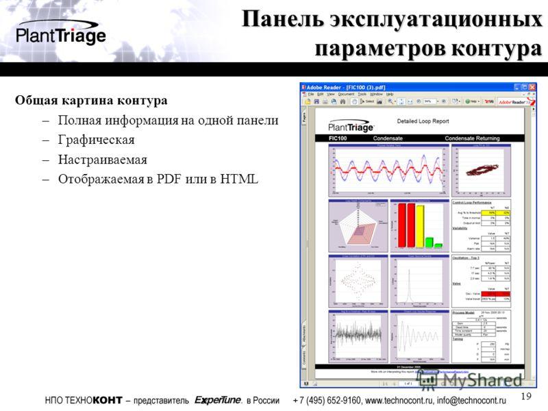 19 Панель эксплуатационных параметров контура Общая картина контура –Полная информация на одной панели –Графическая –Настраиваемая –Отображаемая в PDF или в HTML