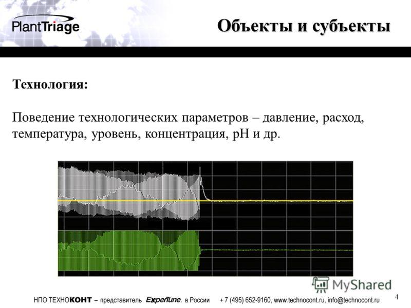 4 Объекты и субъекты Технология: Поведение технологических параметров – давление, расход, температура, уровень, концентрация, pH и др.