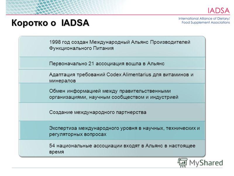 1998 год создан Международный Альянс Производителей Функционального Питания Первоначально 21 ассоциация вошла в Альянс Адаптация требований Codex Alimentarius для витаминов и минералов Обмен информацией между правительственными организациями, научным