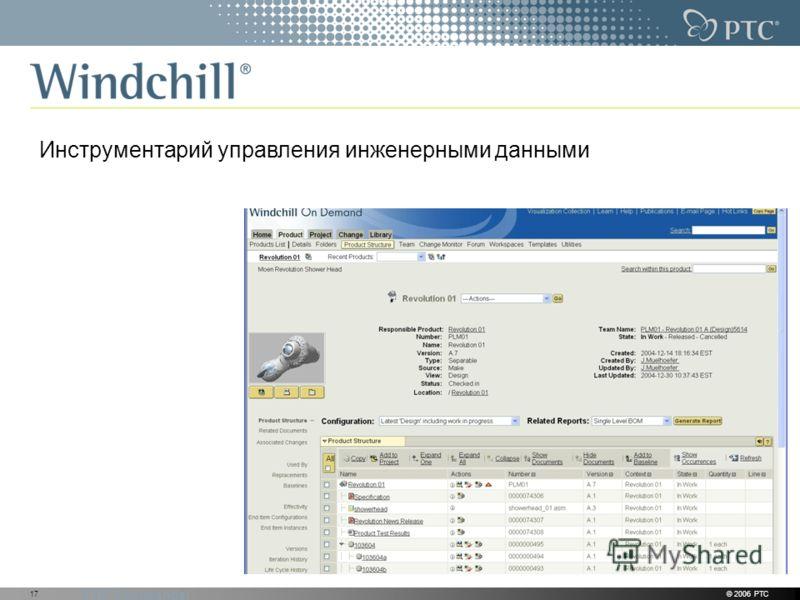 PTC Confidential © 2006 PTC17 Инструментарий управления инженерными данными