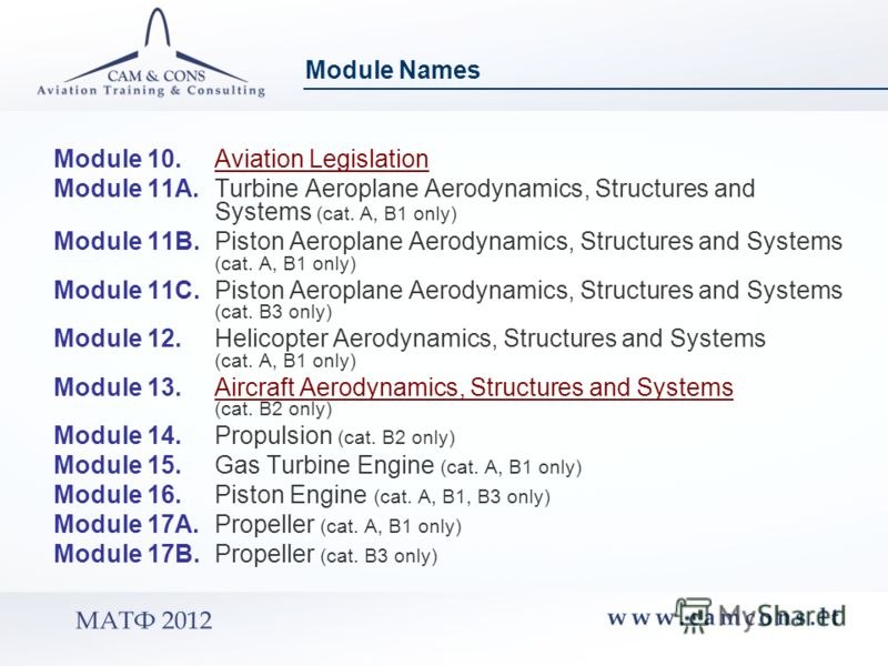Module 10. Aviation LegislationAviation Legislation Module 11A. Turbine Aeroplane Aerodynamics, Structures and Systems (cat. A, B1 only) Module 11B. Piston Aeroplane Aerodynamics, Structures and Systems (cat. A, B1 only) Module 11C. Piston Aeroplane